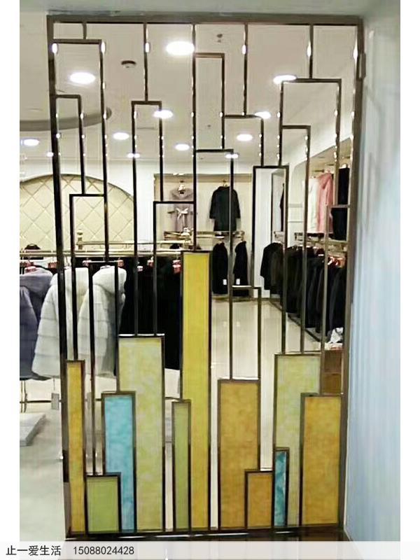 服装店现代简单不锈钢屏风