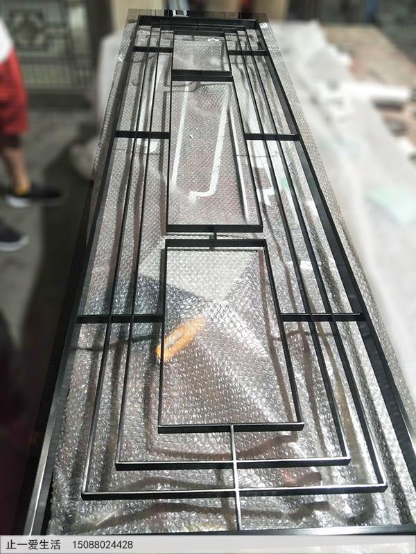 现代黑钛拉丝简单不锈钢屏风