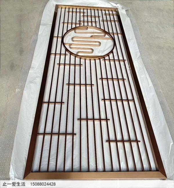现代简单的不锈钢艺术花格屏风