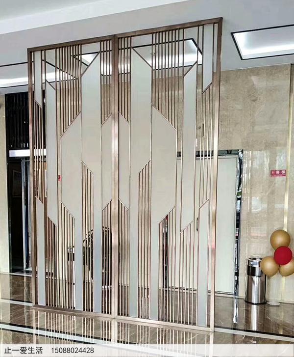现代风屏风,不锈钢与磨砂玻璃结合