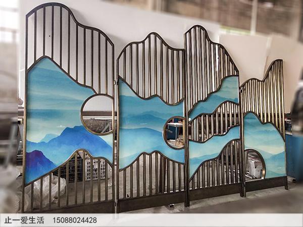 青古铜不锈钢艺术玻璃四扇折叠屏风图片2——云海群山。