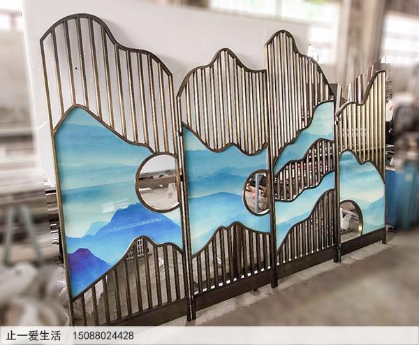 青古铜不锈钢艺术玻璃四扇折叠屏风图片——云海群山。