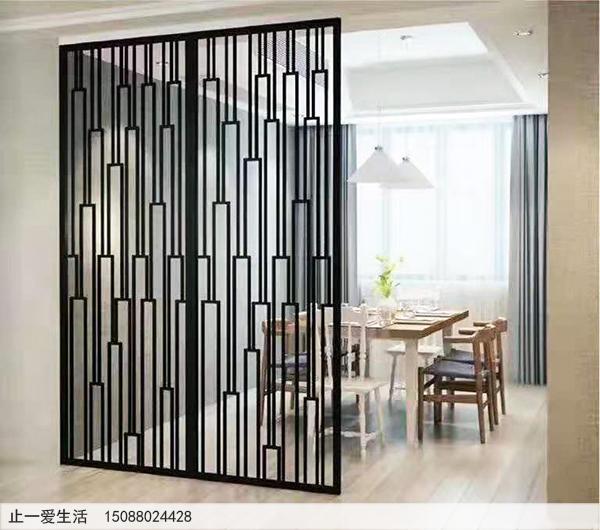 餐厅黑钛金现代屏风隔断效果图