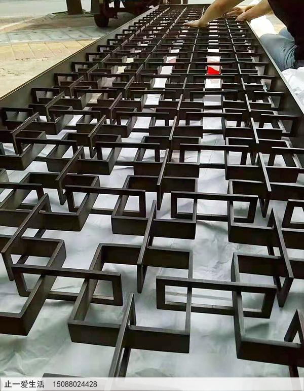 田字格立体造型不锈钢花格屏风屏风,拉丝黑钛金抗指效果图