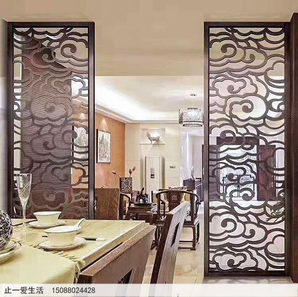 红古铜祥云不锈钢屏风,餐厅与客厅隔断屏风