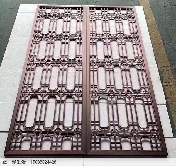 仿紫古铜铜几何图案金属镂空屏风