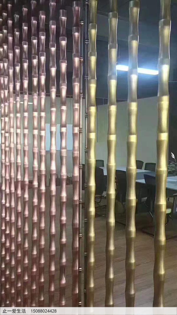 仿红古铜与黄古铜的竹节造型不锈钢竖条金属屏风