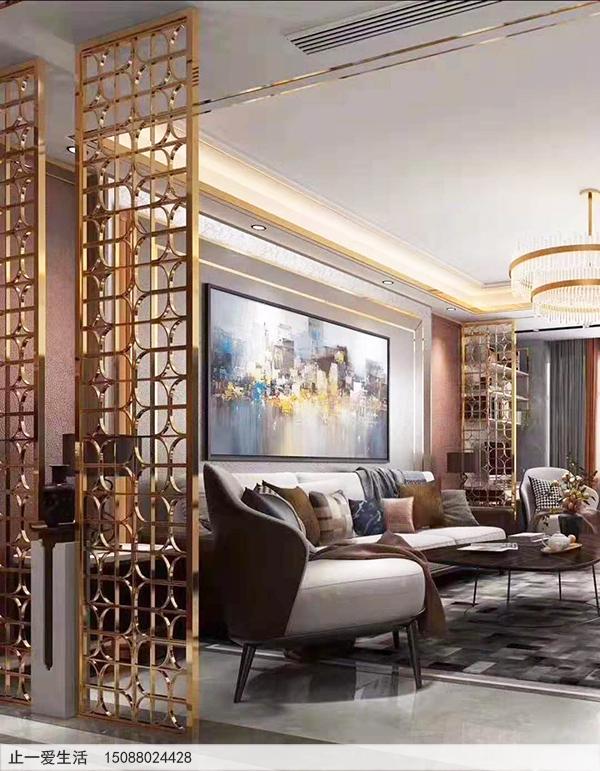 别墅客厅玫瑰金色镀钛镜面不锈钢屏风效果图