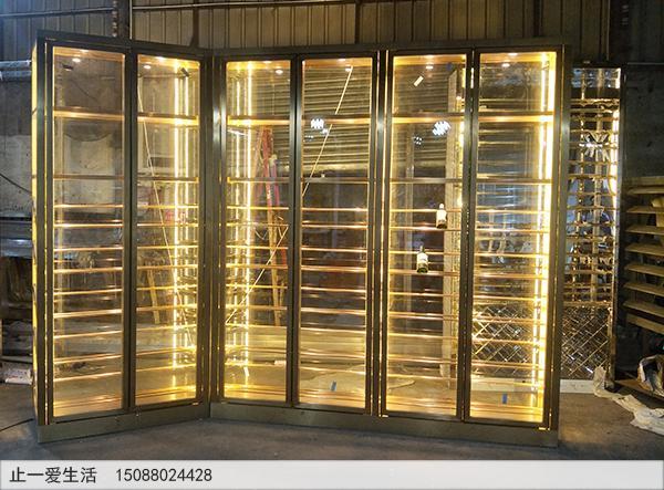 拉丝香槟金色定做的不锈钢酒柜成品