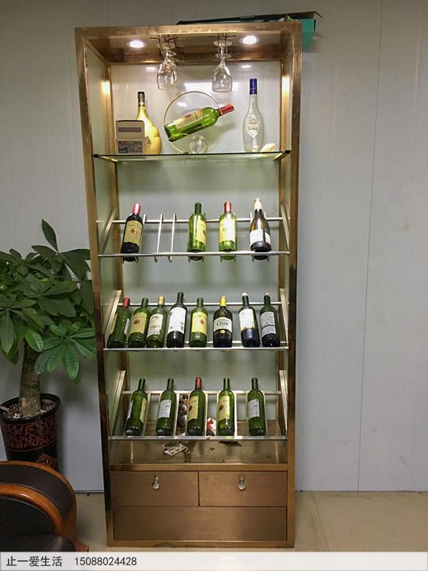 家用小型玫瑰金不锈钢红酒柜实物效果图,无柜门