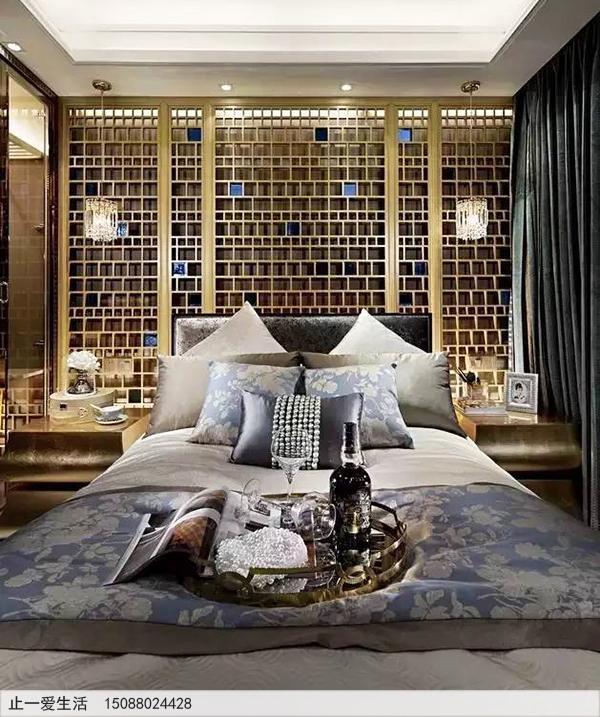 拉丝钛金卧室床头不锈钢装饰花格屏风效果图