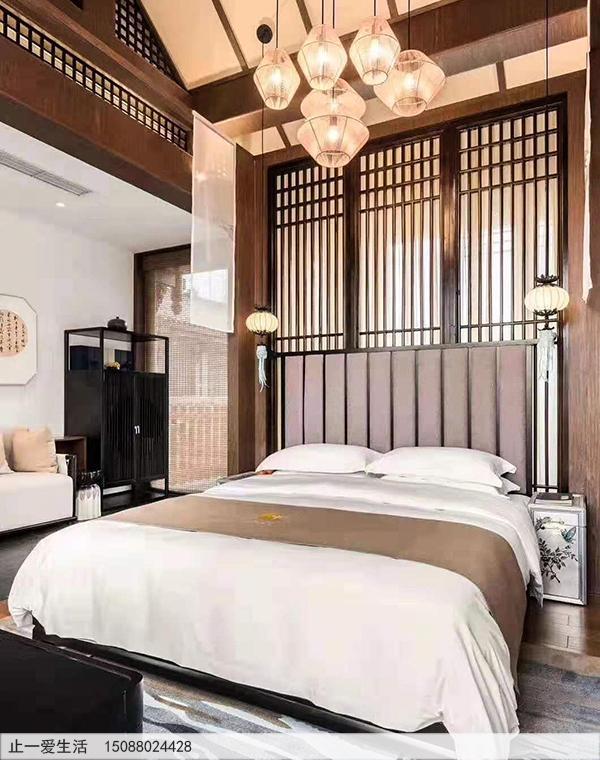 现代风格拉丝玫瑰金卧室床头不锈钢屏风效果图