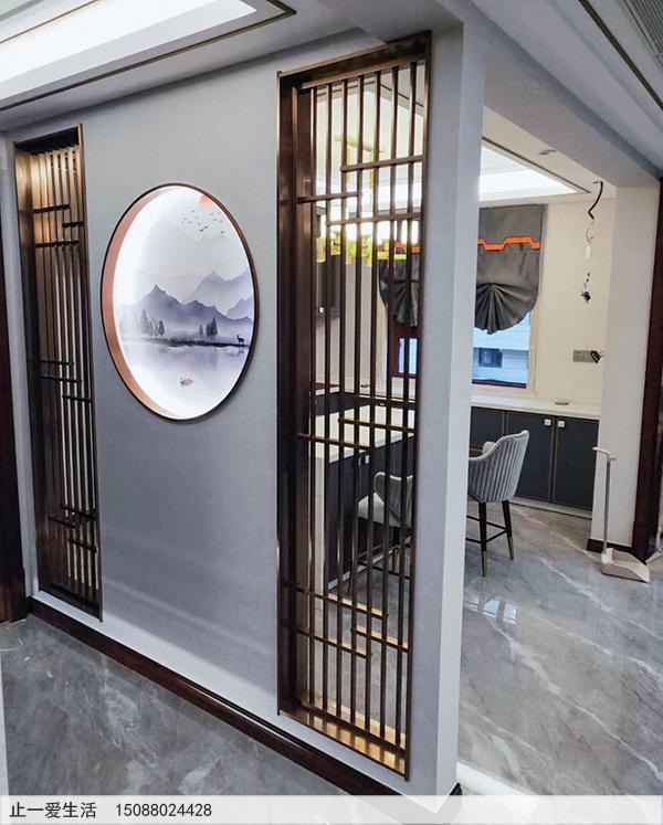 拉丝玫瑰金现代风格客厅进门玄关不锈钢屏风效果图