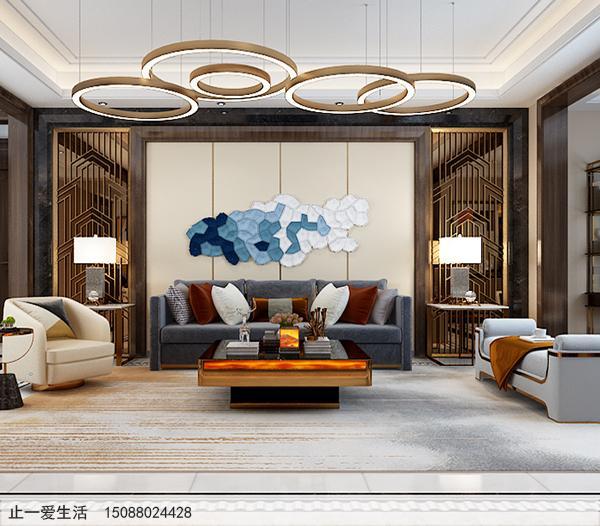 拉丝钛金现代风格客厅沙发背景墙不锈钢屏风效果图
