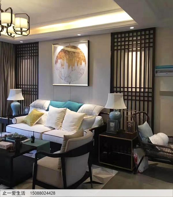 拉丝黑钛金现代风格客厅沙发背景墙不锈钢屏风效果图