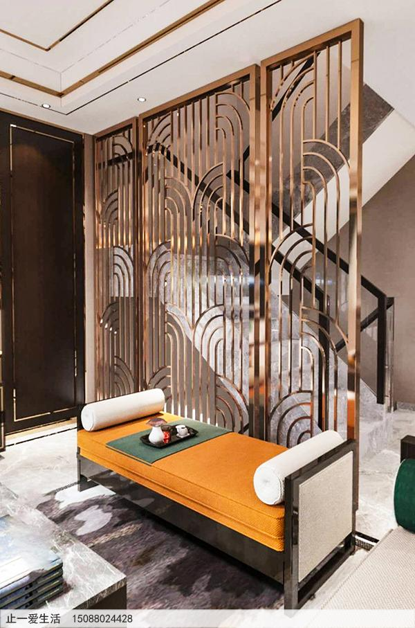 拉丝玫瑰金现代风格客厅电视背景墙不锈钢屏风效果图
