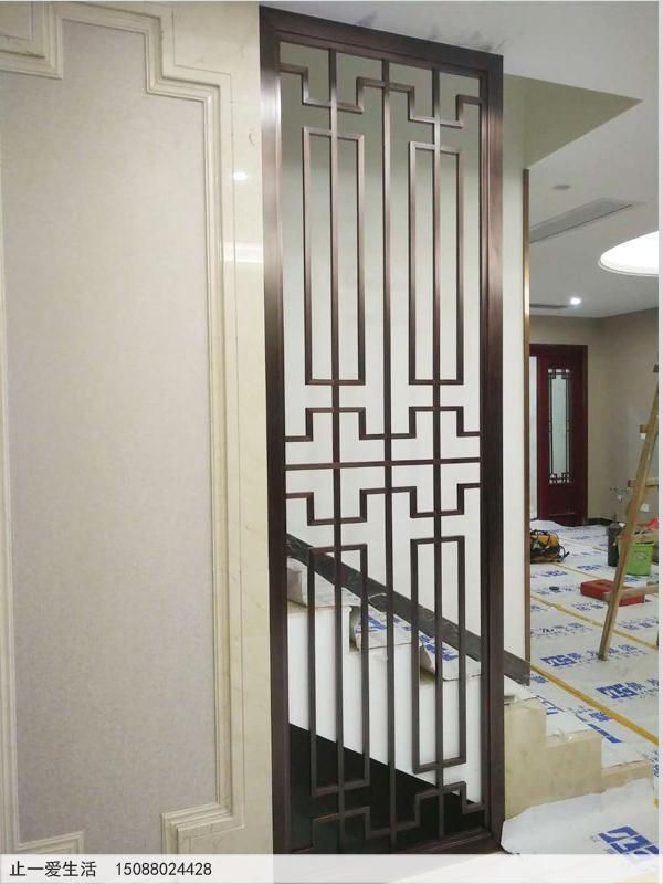 拉丝红古铜现代风格客厅进门玄关不锈钢屏风效果图