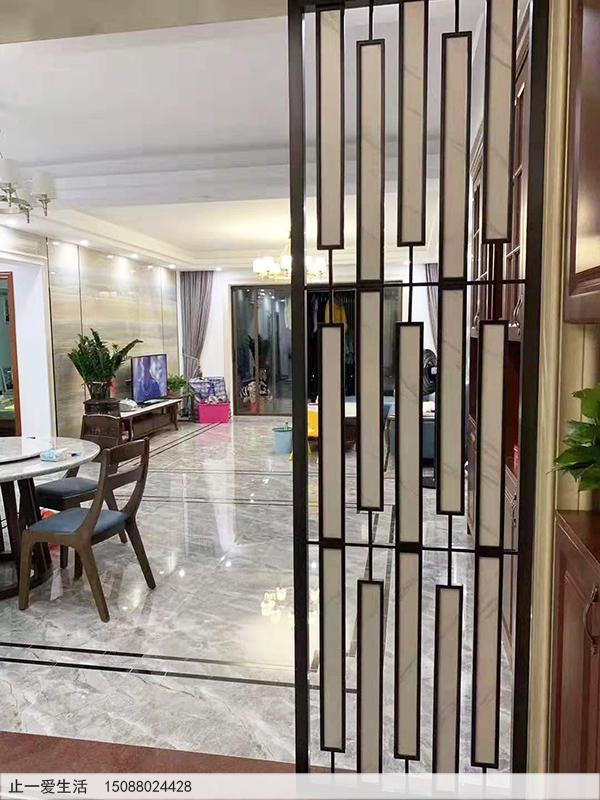 拉丝黑钢现代风格客厅进门玄关不锈钢屏风效果图