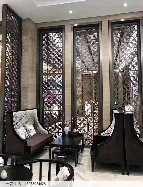 客厅装修不锈钢屏风图片-青古铜米字花格屏风隔断
