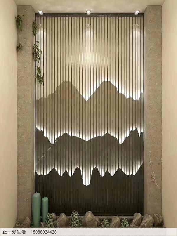 不锈钢镂空的山水屏风背景墙效果图