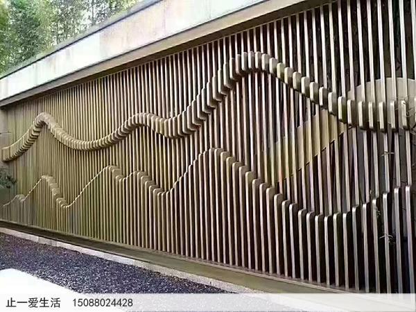 不锈钢镂空的山水屏风背景墙-户外公园影壁墙效果图