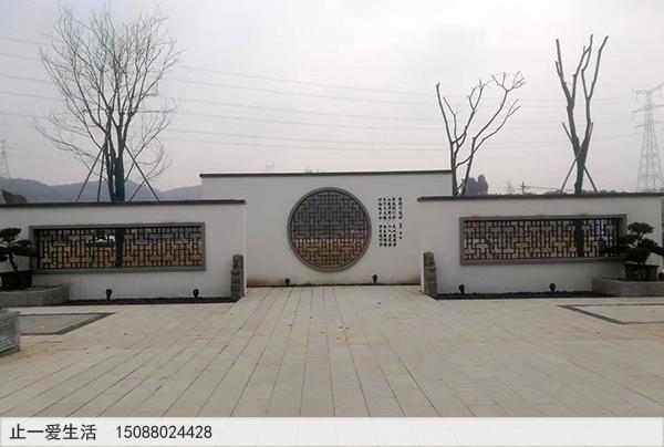 公园室外不锈钢迎门墙圆形的镂空花格造型