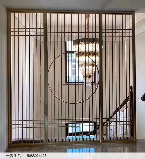 中式风格不锈钢屏风隔断图片-楼梯口隔断效果图