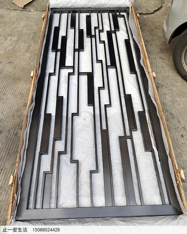 中式风格不锈钢屏风隔断图片-拉丝黑钛效果