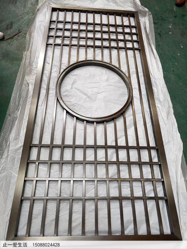 中式风格不锈钢屏风隔断图片-青古铜表面效果