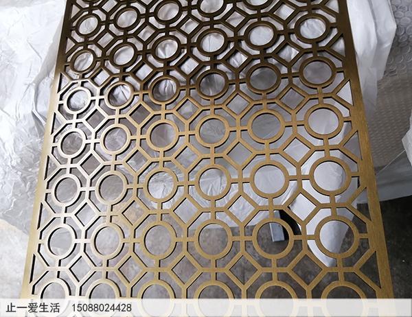 拉丝钛金不锈钢板激光镂空屏风效果图高清图