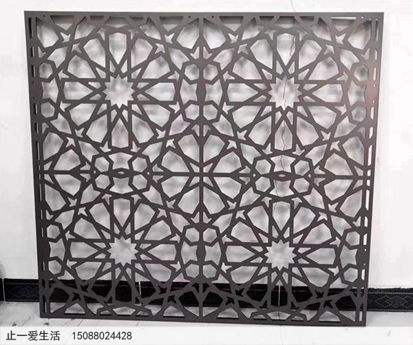 拉丝黑钛不锈钢板激光切割屏风效果图