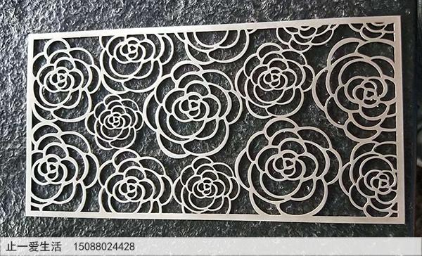 5mm厚玫瑰花造型不锈钢板屏风效果图