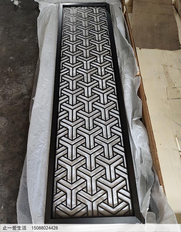 香港拉丝黑钛不锈钢板激光镂空屏风效果图