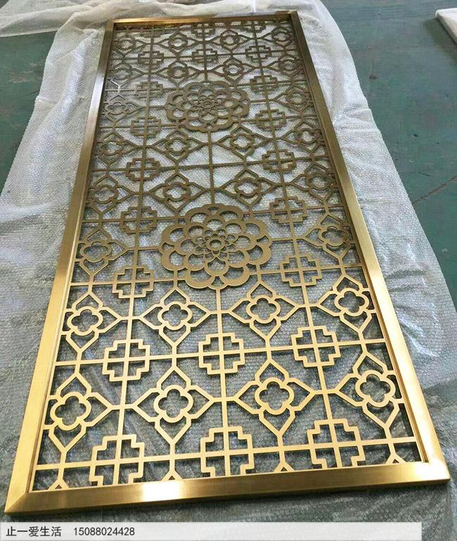 拉丝抗指纹黄铜不锈钢板镂空雕花效果图
