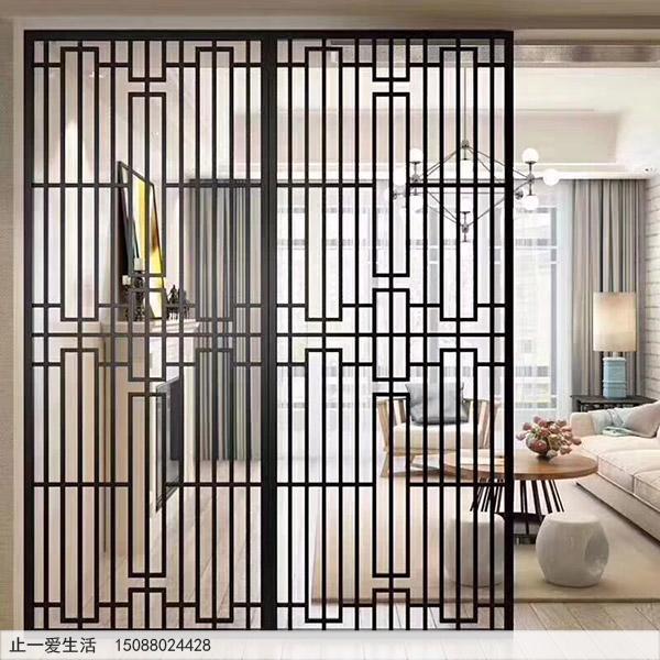 现代中式黑钛不锈钢客厅屏风隔断装饰效果图