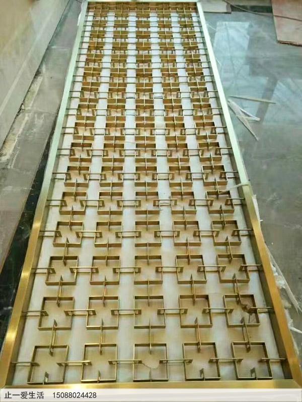 金色的不锈钢屏风生产厂家定制成品效果图
