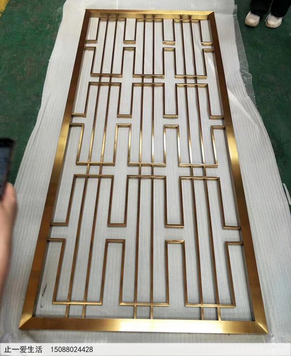 中式风格的金色不锈钢屏风