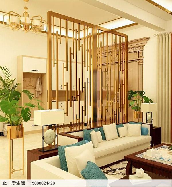 家居装饰沙发背景墙金色简约不锈钢屏风效果图