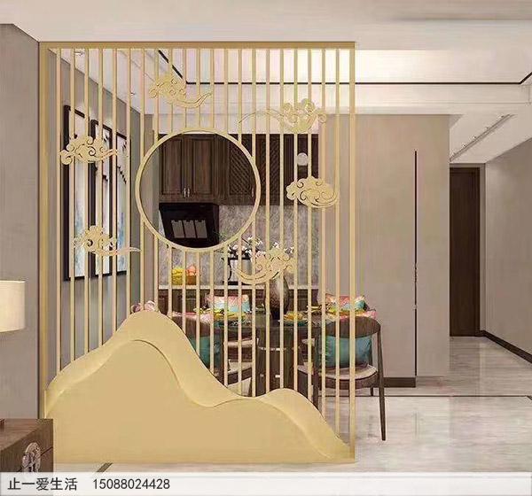 家居餐厅金山银山造型现代艺术不锈钢屏风装修效果图