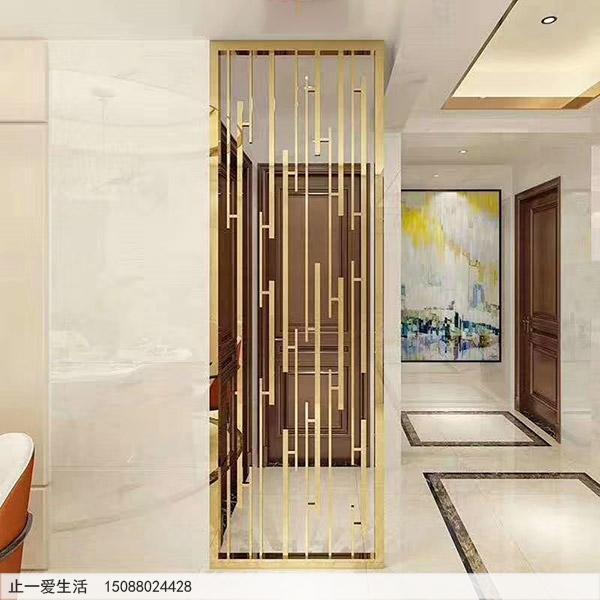 家居玄关隔断装饰亮面金色不锈钢屏风