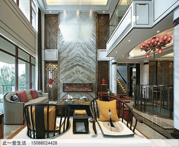 家居装饰茶厅现代简约不锈钢屏风背景墙装饰效果图