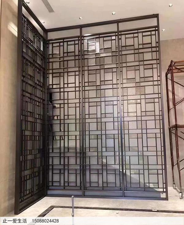 售楼部现代简约金属屏风隔断效果图