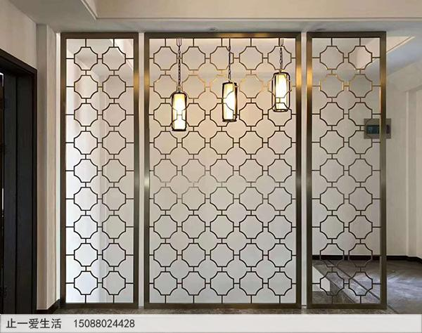 现代简约磨砂玻璃屏风隔断效果图
