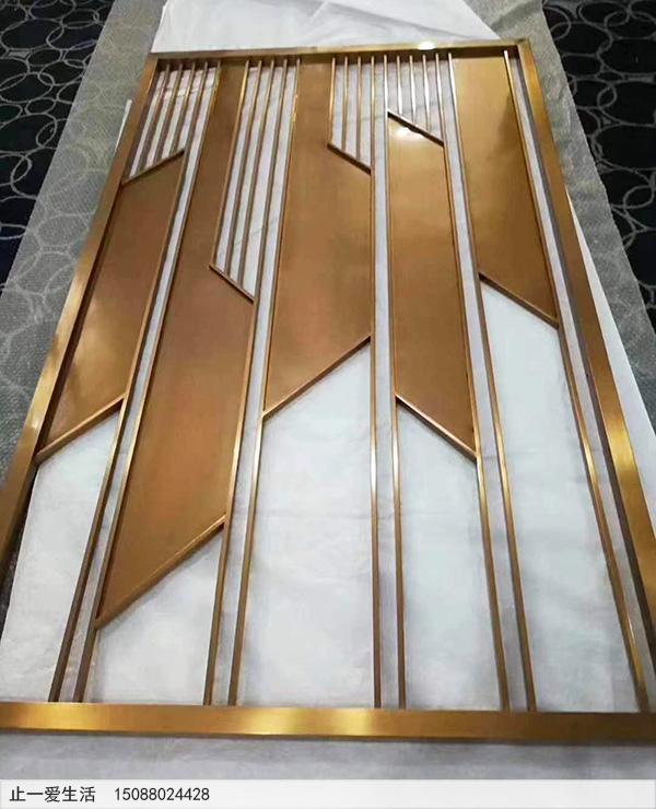 黄铜色现代简约金属屏风隔断生产厂家产品展示