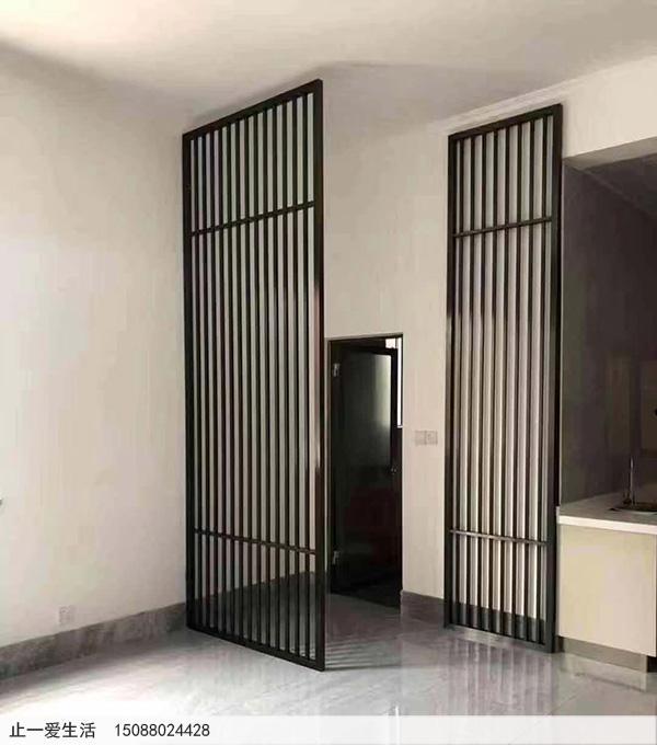 玄关进门新中式不锈钢隔断屏风效果图