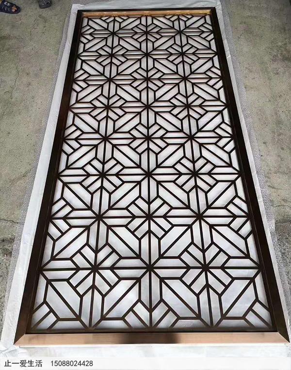 米字造型不锈钢板激光镂空花格样板图片