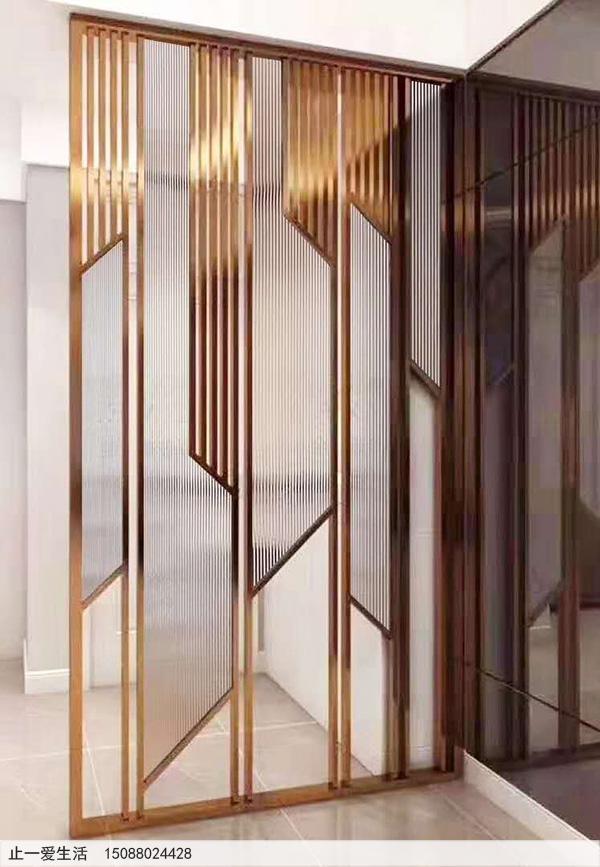 家居装饰现代轻奢玫瑰金不锈钢玻璃屏风效果图