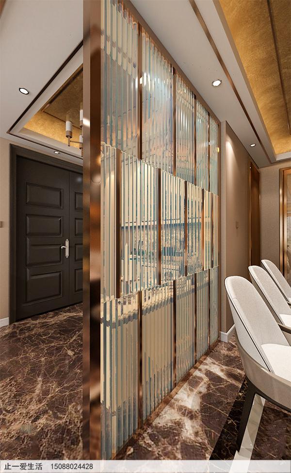 家居客厅与餐厅隔断现代轻奢不锈钢长虹玻璃屏风效果图