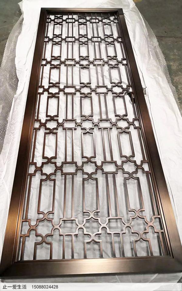 纳米喷涂红古铜不锈钢屏风成品效果