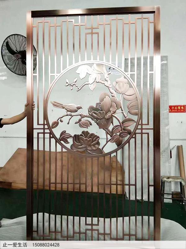 红古铜中式不锈钢屏风,铝浮雕画屏风
